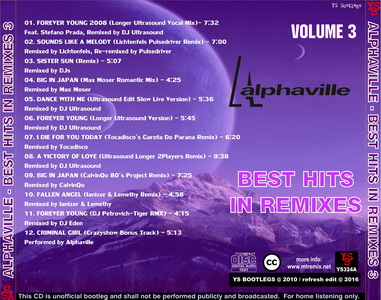 YS Bootlegs - YS324A ALPHAVILLE - Best Hits In Remixes volume 3