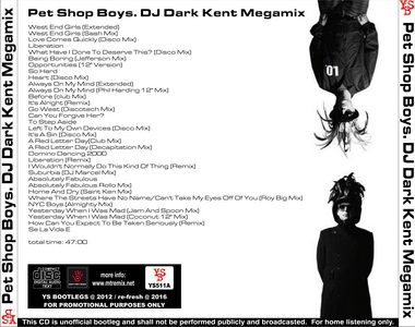 YS Bootlegs - YS511A PET SHOP BOYS - DJ Dark Kent Megamix